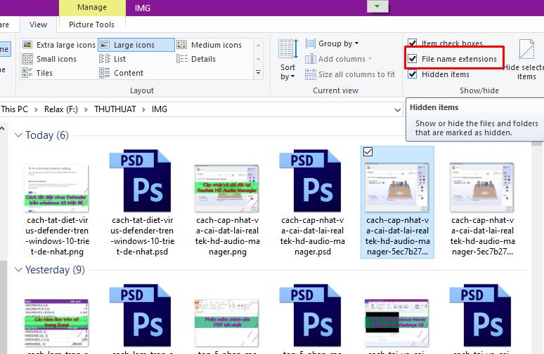 Cách hiện file ẩn và đuôi file trên Windows 10/8.1/8/7 7