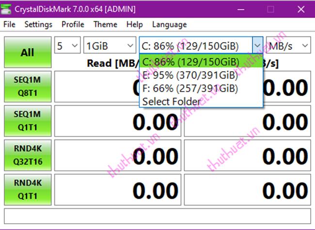 Cách kiểm tra tốc độ đọc, ghi ổ đĩa bằng CrystalDiskMark 3