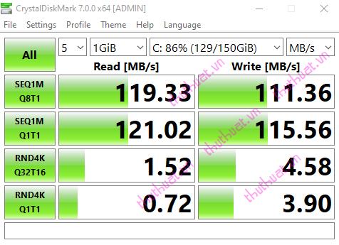 Cách kiểm tra tốc độ đọc, ghi ổ đĩa bằng CrystalDiskMark 5