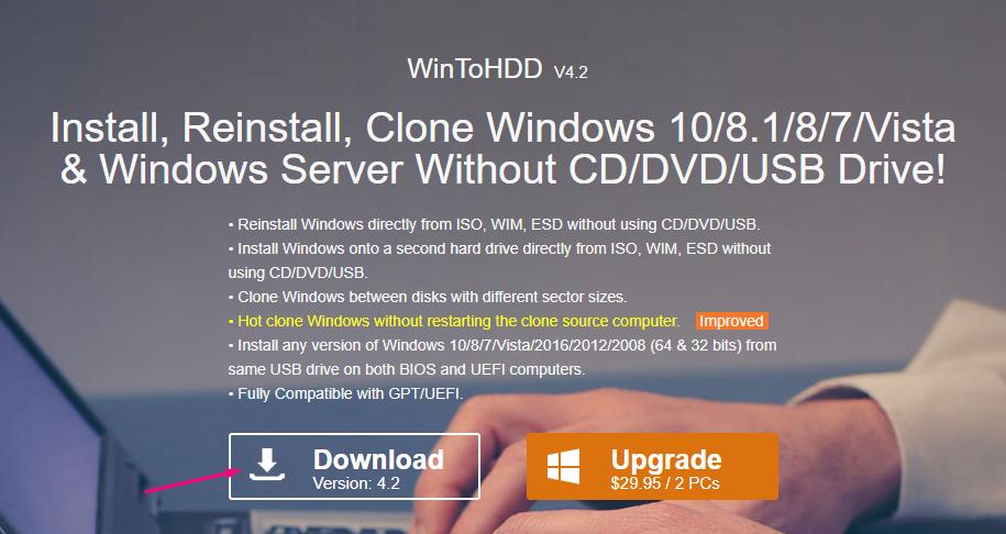 Cách sử dụng WinToHDD để cài mới lại Windows 1