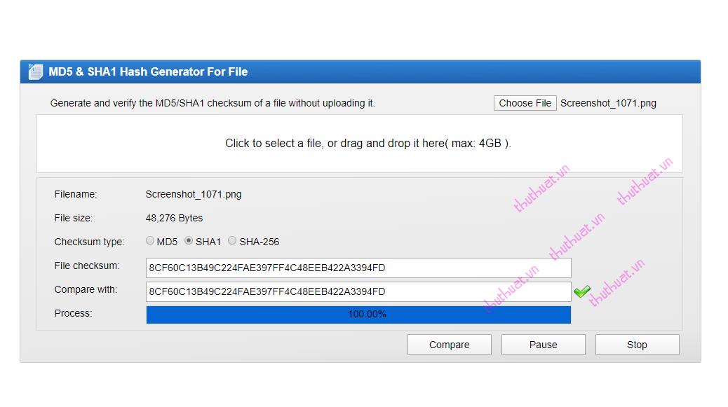 Check MD5 và SHA1 kiểm tra tính toàn vẹn của tập tin (file) 4