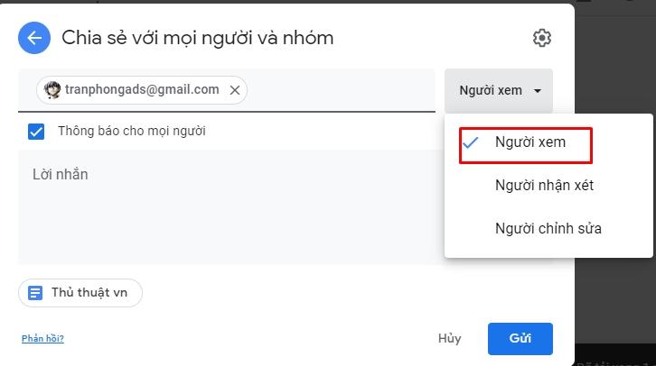 Chia sẻ và phân quyền file toàn tập trên google drive 4