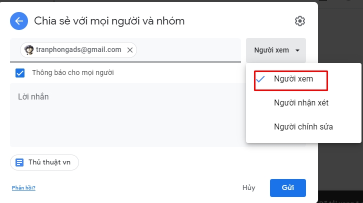 Chia sẻ và phân quyền file toàn tập trên google drive 8