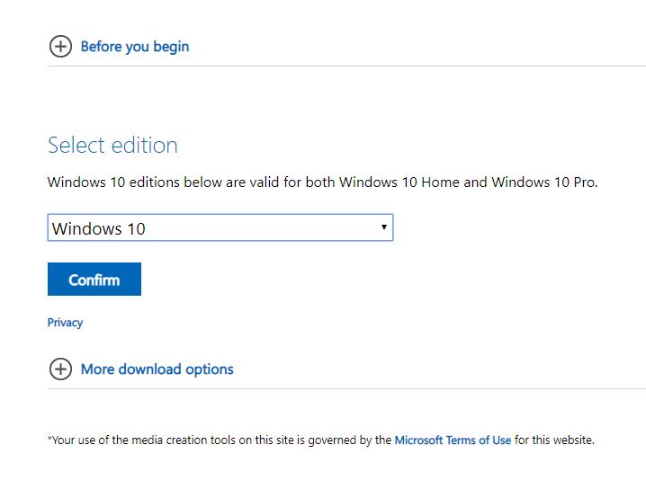 Media creation tool công cụ tải windows 10 chính hãng từ Microsoft 10